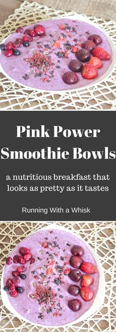 Pink Power Smoothie Bowls on runwithawhisk.com