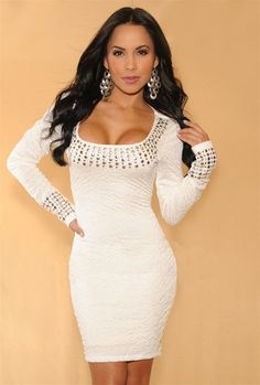 Sexy white clubwear bodycon dress long sleeved with rhinestone detailing Avaliable in sizes - small medium large x-large xx-large