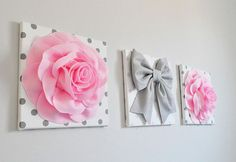 Baby Pink Roses White Gray Polka Dot Wall Art pink flower