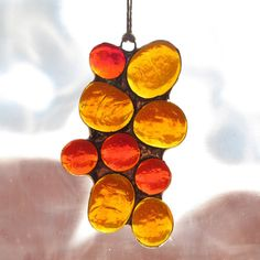 Stained Glass Burnt Orange & Amber Abstract by paintedlightglass, $18.00