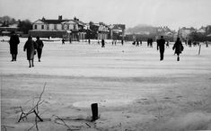 The last time the Thames froze was during the winter of 1962-3. Here, people walk on the icy river at Windsor.