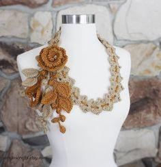 Lovely Crochet Honey Oatmeal Necklace Scarf by SornjasCrafts, $31.00