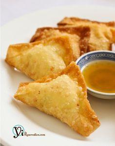 Crab Rangoon-1 pkg. wonton wrapper, ½ lb imitation crab sticks or lump crab meat, 8 oz.cream cheese, 3 stalk scallions, 1 tsp Worchester sauce, 1 tsp soy sauce, 1 tsp. sugar.