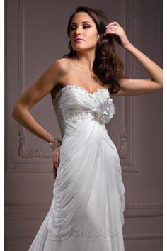 Luxurious White Column Sweetheart Corset Closure Floor-length Wedding Dress Sweep Train With Handmade Flowers 00088