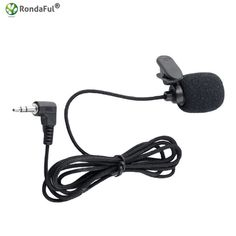 Fantasyworld Portable External 3.5 mm Hands Free Mini with Cable Connection Lapel Clip Microphone Lavalier for PC Laptop Lound Speaker Black
