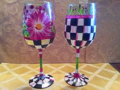 Hand Painted Wine Glasses Water Goblets by krystasinthepointe