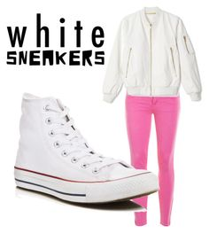 """White sneakers"" by wonderland321 ❤ liked on Polyvore featuring J.Crew and Converse"