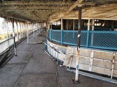 Paint peels and wood rots on the Boblo boat Columbia on Nov. 12, 2011. The boat has been docked in Ecorse, Mich., for several years, awaitin...