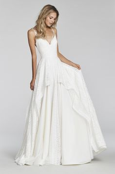 """""""Louie""""- style:1706-Ivory lace A-line gown, sweetheart neckline with strap accent front and back, cascading tiered skirt of banded-boho lace."""
