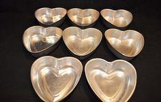 Vintage Aluminum HEART Shaped Cake Pans Jello Molds Custard Cups (8) | eBay