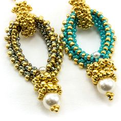 These structured earrings are made using three sided tubular right angle weave with 15/o's. Kit includes gold filled ear wires, Swarovski crystal pearl elements, gold plated Japanese seed beads in siz