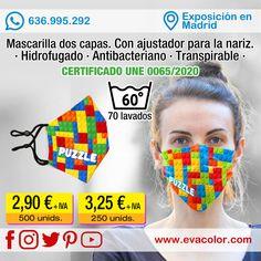 Mascarilla personalizada de dos capas corresponde al Tipo mascarilla higiénica reutilizable y lavable. Homologada. Tallas disponibles: adulto o niño.