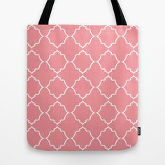 Moroccan White and Coral Tote Bag by House of Jennifer - $22.00
