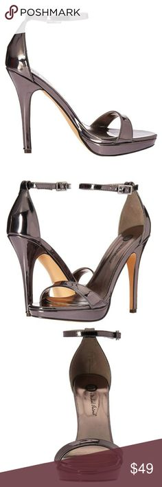 7b7ae2341e532 New Women's PEWTER Metallic Patent PU Heels Adjustable Ankle Strap Pewter  Metallic Material Slightly Padded footbed