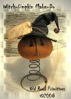 Primitive Pumpkin, Primitive Crafts, Primitive Christmas, Halloween Home Decor, Halloween Crafts, Halloween Iii, Halloween Wreaths, Happy Halloween, Bed Spring Crafts