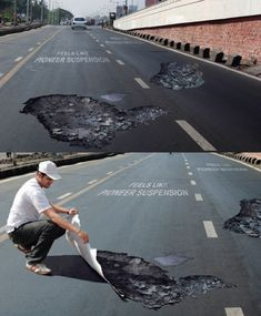 Road sticker ads for Pioneer Suspensions. Possibly dangerous though if drivers start swerving to avoid the fake potholes.
