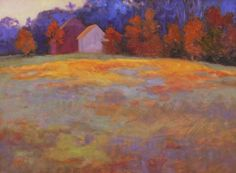 """Fall Fern Field"" by Abbie Williams.  12""x 16"" Oil on Linen.  Available at Maine Art Paintings & Sculpture."