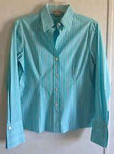 Michael Kors Turquoise Blue White Striped Button Down Up Blouse Top Fitted 6 S