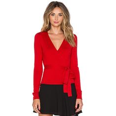 Diane von Furstenberg Ballerina Wrap Sweater Sweaters & Knits ($268) ❤ liked on Polyvore featuring tops, sweaters, sweaters & knits, knit tops, red knit sweater, red wrap top, ballet wrap top and ballet sweater