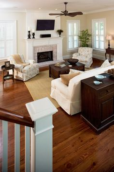 Living room with tall fireplace room furniture and decor layout ...