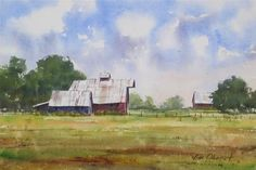 """Daily Paintworks - """"On the Farm"""" - Original Fine Art for Sale - © Jim Oberst Watercolor Barns, Watercolor Paintings For Sale, Farm Paintings, Watercolor Landscape, Landscape Paintings, Landscapes, 3d Design, Art For Sale, Fine Art"""