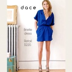 """Dace Brielle Blue Dress This dress says """"I just threw this on and still look cool and sexy"""". Pull-on, low v-neck with snap closure, elastic waist and lined skirt has 2 pockets. Designer Dace Moore brings contemporary women's wear from Vancouver. Makes a perfect beach coverup. Navy Blue 💙Cotton/Poly/Linen blend. 💫 d a c e Dresses"""