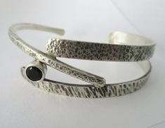 Sterling silver bracelet black onyx handmade branches twig #jewelrysilverideas #SterlingSilverBracelets #SterlingSilverJewellery