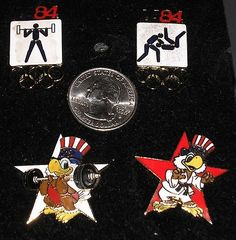 Vintage 1984 Weightlifting & Judo Olympic Collector Pins - 4 Limited Edition
