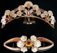 A Lalique Tiara and brooch set.