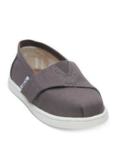 Toms Girls' Ash Canvas Toms Tiny Classics 2.0 Shoe - Gray - 11M Toddler