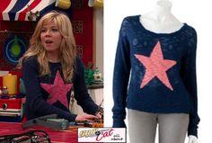 Sam Puckett (Jennette McCurdy) wore this Blue Kohl's Heart N Crush Star Print Slubbed Sweater.
