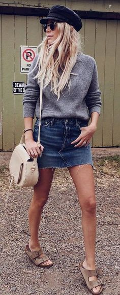 hat + knit + bag + skirt