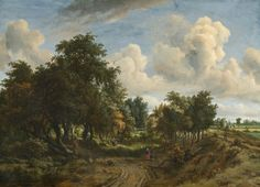 A Wooded Landscape by Meindert Hobbema was a Dutch Golden Age landscape painter @ The National Gallery of Art, Washington, D. Vintage Art Prints, Vintage Wall Art, Vintage Walls, Fine Art Prints, Wooded Landscaping, Baroque, Dutch Golden Age, National Gallery Of Art, Chiaroscuro