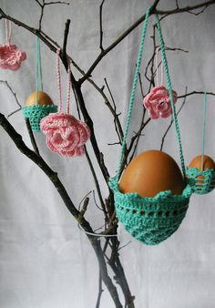 EASTER decoration - 3 hanging crochet eggs baskets