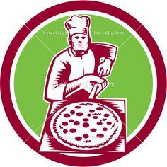 artwork, baker, bread, circle, graphics, hat, holding, illustration, male, man, pan, peel, pie, pizza, pizza maker, retro, woodcut, worker