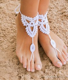Beach wedding White Crochet Barefoot Sandals Nude shoes by barmine