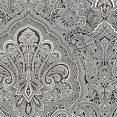 Damask meets paisley in this detailed black and white wallpaper. | AmericanBlinds.com