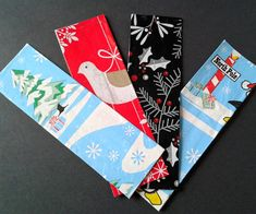 Wrapping Paper Bookmarks  ||  Whenever the holidays roll around, tons of presents, wrapped in pretty colored paper come with them. Not only does this mean a large amount of work buying and... http://www.instructables.com/id/Wrapping-Paper-Bookmarks/?utm_campaign=crowdfire&utm_content=crowdfire&utm_medium=social&utm_source=pinterest