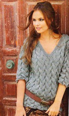 Пуловер из кос с V-образным вырезом Размеры: 38/40 (42) 46/48 https://shemyuzorov.com/pulover-iz-kos-s-v-obraznym-vyrezom.html