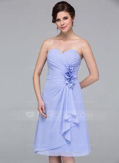 Bridesmaid Dresses - $99.99 - A-Line/Princess Sweetheart Knee-Length Chiffon Bridesmaid Dress With Flower(s) Cascading Ruffles (007037215) http://jjshouse.com/A-Line-Princess-Sweetheart-Knee-Length-Chiffon-Bridesmaid-Dress-With-Flower-S-Cascading-Ruffles-007037215-g37215