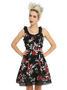 Black & Red Floral Ruffle Dress, BLACK, hi-res