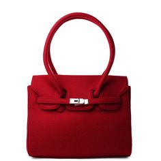 Felt Front Lock HandBag in Red ($60) ❤ liked on Polyvore featuring bags, handbags, purses, chicwish, bolsas, felt bag, hand bags, lock handbag, felt handbags and red purse