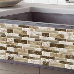 """x PVC Peel & Stick Mosaikfliesen in Grau / Braun Peel Stick Backsplash, Peel And Stick Tile, Stick On Tiles, Kitchen Backsplash, Backsplash Ideas, Kitchen Paint, Kitchen Redo, Kitchen Flooring, Kitchen Remodel"
