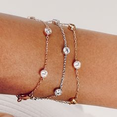 Petits Bijoux Station Bracelets in rhodium, gold, and #rosegold for #you!! Click thru to discover your next best sparkle at #TheJewelsLoveYou!