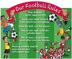 A great and fresh way to help reduce playtime conflict and ensure everyone plays fairly! Chock full of colours new illustration created by Anthony Rule, this rules sign is available in two sizes, each supplied complete with fixing pack. Football Rules, Win Or Lose, Heads Up, Soccer, Chock Full, Plays, Outdoors, Colours, Sign