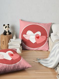 """""""Hearts in pinks and reds"""" Floor Pillow by Mandsred1 