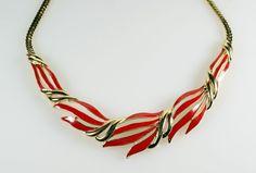 Vintage Crown Trifari Red Enamel Gold Tone Necklace #Trifari #Collar