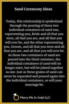 Unity Sand, Sand Ceremony, Scripts, Marry Me, Indiana, Wedding Ceremony, Memories, Weddings, Bride