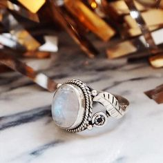 Winter's Tale - Rainbow Moonstone & Sterling Silver Ring
