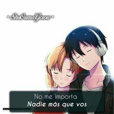 anime frases anime frase sentimientos ShuOumaGcrow amor sword art online Sad Anime, Anime Love, Kawaii Anime, Amnesia Anime, Sword Art Online Asuna, Captain Tsubasa, Kirito, Love You, My Love